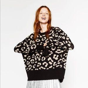 Zara Leopard Jacquard Oversized Sweater