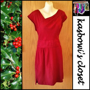 THE LIMITED Holiday Red Dress with Pleat Details