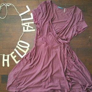 Soprano Faux Wrap Dress in Burgundy Red