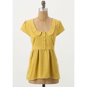 Anthropologie Amina Mustard Yellow Top