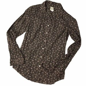 J CREW perfect shirt in black floral 2
