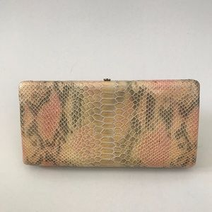 AUTHENTIC Abas Snake Embossed Leather Clutch