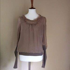 Anthropologie fei 100% silk blouse top longsleeve
