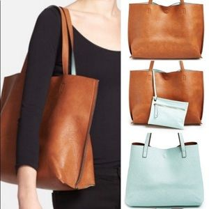 JUST FAB reversible tote! Turquoise and brown