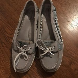 Sperry silver boat shoes