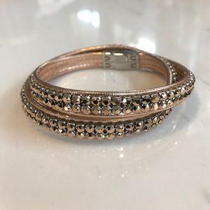 Swarovski Double Wrap Bracelet - Rose Gold