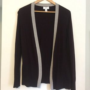 Open cardigan with shimmery trim