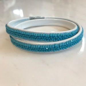 Swarovski Double Wrap Bracelet - Blue and White