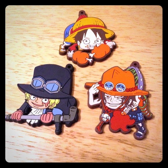 One Piece Luffy Ace Sabo Brother Trio Charms New