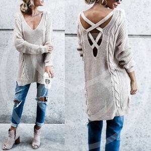 EVA GREENE Knit Sweater - NATURAL