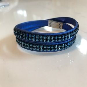 Swarovski Double Wrap Bracelet - Blue