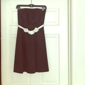 The Limited strapless black dress with belt.