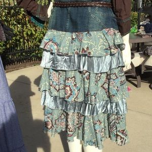 1 of A KIND Upcycled denim ruffled layered skirt L