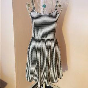 Black and cream stripes skater dress