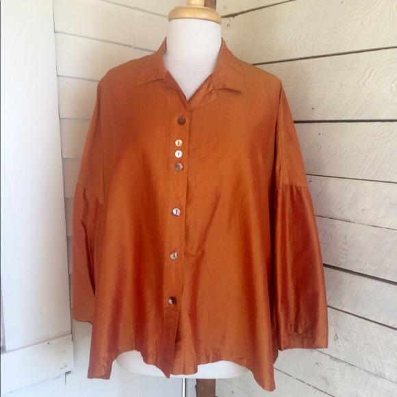 Eleven Stitch Design Tops - Orange silk over sized button down shirt
