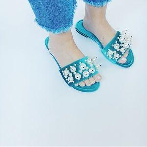 Shoes - Eve Velvet Turquoise Pearl Slides Flats Sandals