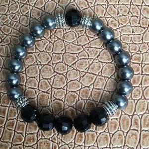 Stretch Bracelet, Hematite Beads & Black Faceted.