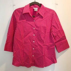 Preppy hot pink & white stripes button-down shirt