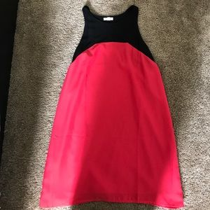 Red and black cut out tank dress
