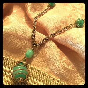 Green/Gold drop pendant Necklace