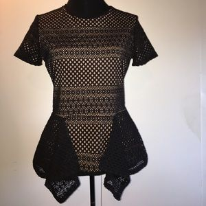 BCBG Maxazria Vicktoria peplum lined top blouse