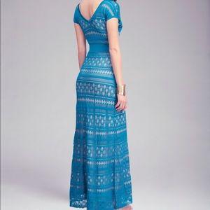 Bebe Maxi Pointelle Dress in Blue/ dark teal