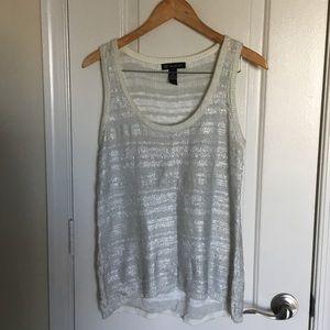 Crochet white/silver tank
