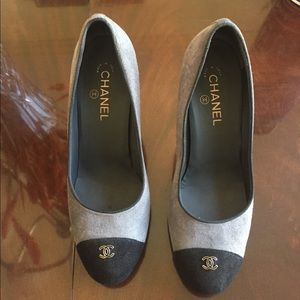 Chanel Suede Cap Toe Pump--Size 42