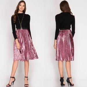 Rose Velvet Pleated Midi Skirt