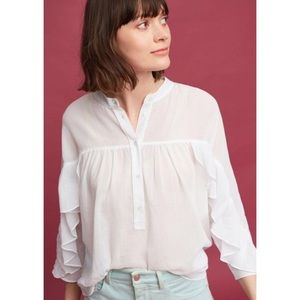 NWT Anthropologie Maeve Ruffled Henley Top