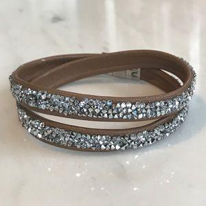 Swarovski Double Wrap Bracelet - Brown and Silver