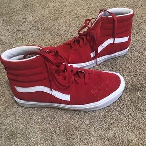 Vans red sk8 hi white sole size 8.5