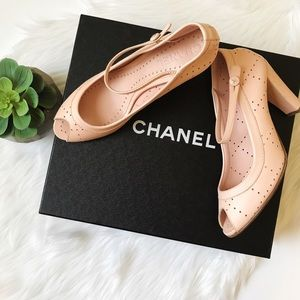NIB CHANEL Light Pink Peep Toe Ankle Strap Shoes