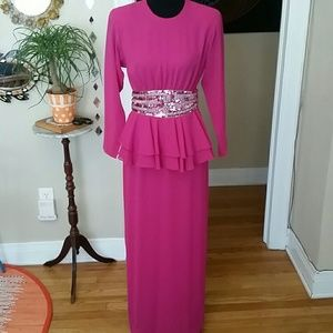 VTG Hot Pink GORGEOUS Peplum Disco Dress!♡