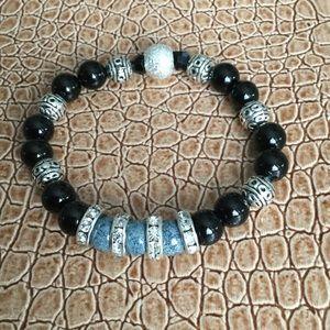 Women's Stretch Bracelet, Blue/Black/Rhinestones