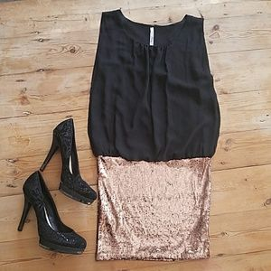 Entry Sleeveless Black & Bronze Sequin Party Dress