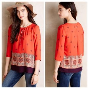 Anthropologie Maeve Rila Bordered Blouse Top