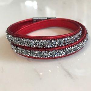 Swarovski Double Wrap Bracelet - Red and Silver