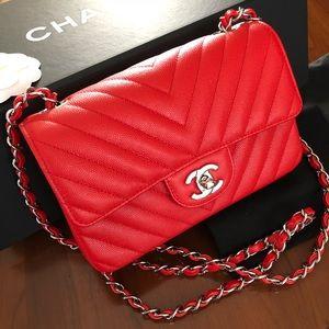Brand new Chanel mini red caviar chevron