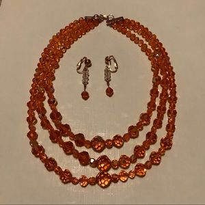 Vintage Orange Crystal Necklace and Earrings