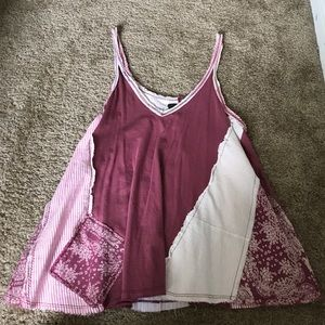 patchwork loose fitting oversized tank