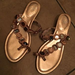 Vince Camuto Gold Beaded Strap Sandals