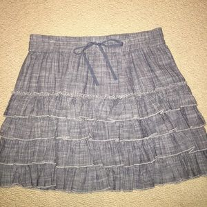 DKNY chambray tiered skirt L