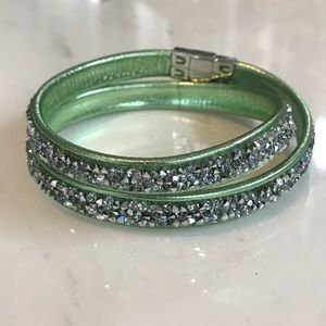 Swarovski Double Wrap Bracelet - Green and Silver