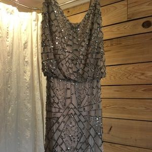 Adriana Papell geometric beaded gown