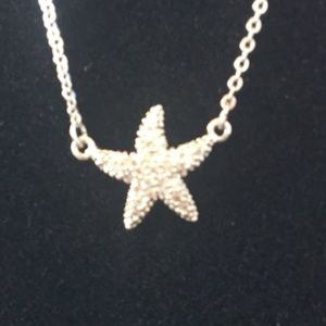 CZ Platinum Plated Starfish Necklace