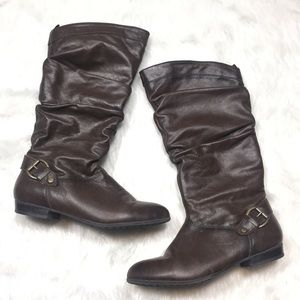 Aldo brown leather slouch knee high boots size 8