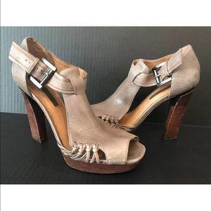 Modern Vintage Chunky Wooden Heel Grey Leather 10