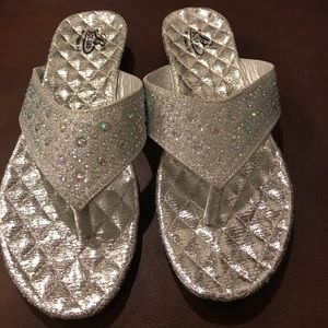 Silver Glittered Flip Flops