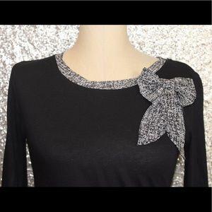 Ann Taylor Black Long Sleeve Top With Bow